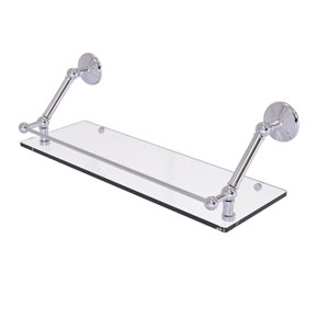 Prestige Monte Carlo Polished Chrome 24-Inch Floating Glass Shelf with Gallery Rail