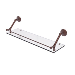 Prestige Monte Carlo Antique Copper 30-Inch Floating Glass Shelf with Gallery Rail