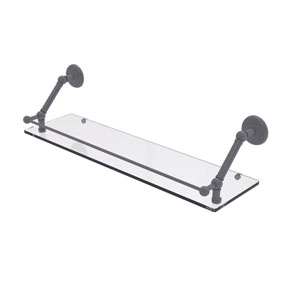 Prestige Monte Carlo Matte Gray 30-Inch Floating Glass Shelf with Gallery Rail