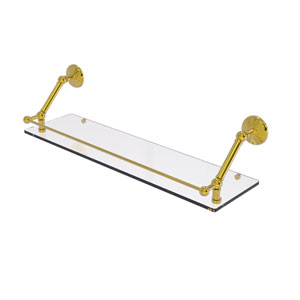 Prestige Monte Carlo Polished Brass 30-Inch Floating Glass Shelf with Gallery Rail