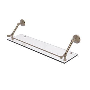 Prestige Monte Carlo Antique Pewter 30-Inch Floating Glass Shelf with Gallery Rail