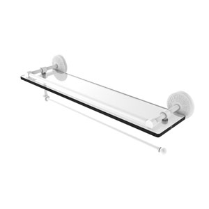 Prestige Monte Carlo Matte White 22-Inch Paper Towel Holder with Gallery Glass Shelf