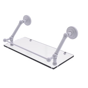 Prestige Que New Matte White 18-Inch Floating Glass Shelf with Gallery Rail
