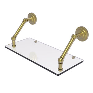 Prestige Que New Satin Brass 18-Inch Floating Glass Shelf