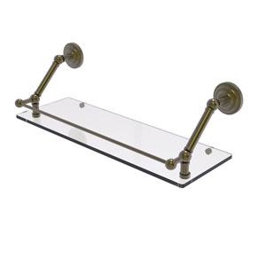 Prestige Que New Antique Brass 24-Inch Floating Glass Shelf with Gallery Rail