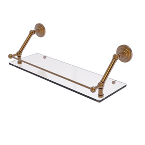Prestige Que New Brushed Bronze 24-Inch Floating Glass Shelf with Gallery Rail