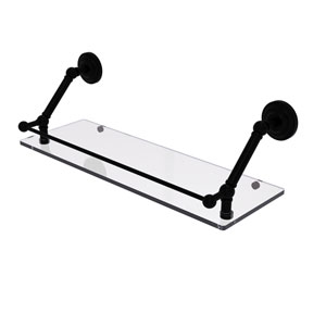 Prestige Que New Matte Black 24-Inch Floating Glass Shelf with Gallery Rail