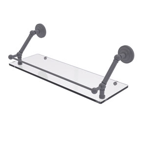 Prestige Que New Matte Gray 24-Inch Floating Glass Shelf with Gallery Rail
