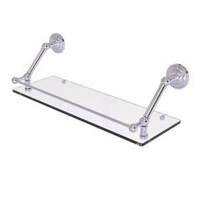 Prestige Que New Polished Chrome 24-Inch Floating Glass Shelf with Gallery Rail