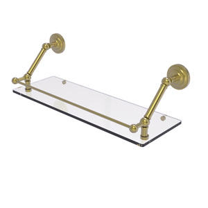 Prestige Que New Satin Brass 24-Inch Floating Glass Shelf with Gallery Rail