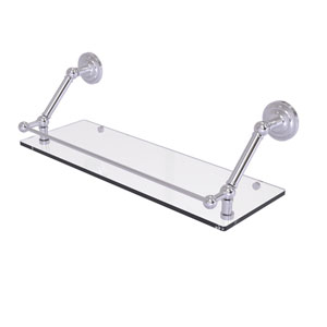 Prestige Que New Satin Chrome 24-Inch Floating Glass Shelf with Gallery Rail