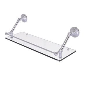 Prestige Que New Satin Chrome 24-Inch Floating Glass Shelf with Gallery Rail