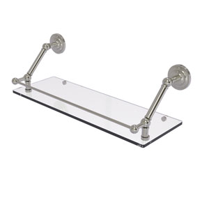Prestige Que New Satin Nickel 24-Inch Floating Glass Shelf with Gallery Rail