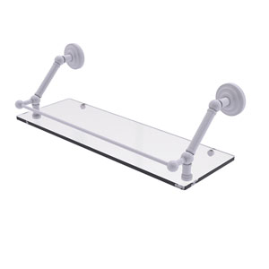 Prestige Que New Matte White 24-Inch Floating Glass Shelf with Gallery Rail