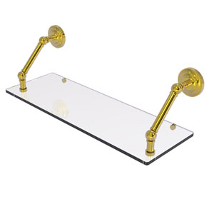 Prestige Que New Polished Brass 24-Inch Floating Glass Shelf