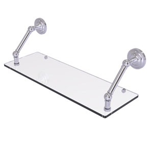 Prestige Que New Satin Chrome 24-Inch Floating Glass Shelf