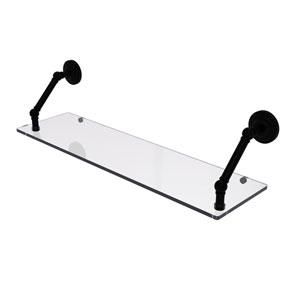 Prestige Que New Matte Black 30-Inch Floating Glass Shelf