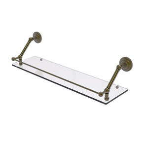 Prestige Que New Antique Brass 30-Inch Floating Glass Shelf with Gallery Rail