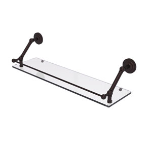 Prestige Que New Antique Bronze 30-Inch Floating Glass Shelf with Gallery Rail