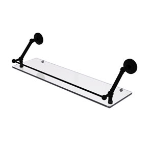 Prestige Que New Matte Black 30-Inch Floating Glass Shelf with Gallery Rail