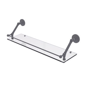 Prestige Que New Matte Gray 30-Inch Floating Glass Shelf with Gallery Rail