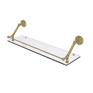 Prestige Que New Satin Brass 30-Inch Floating Glass Shelf with Gallery Rail