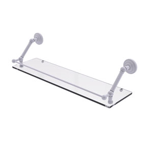 Prestige Que New Matte White 30-Inch Floating Glass Shelf with Gallery Rail