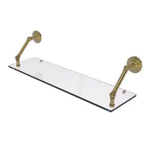 Prestige Que New Unlacquered Brass 30-Inch Floating Glass Shelf