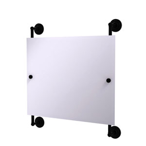 Prestige Que New Matte Black 26-Inch Landscape Rectangular Frameless Rail Mounted Mirror