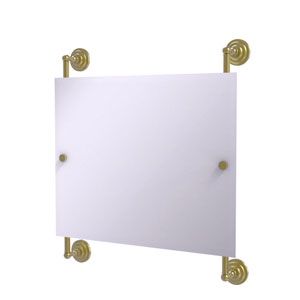 Prestige Que New Satin Brass 26-Inch Landscape Rectangular Frameless Rail Mounted Mirror