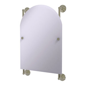 Prestige Que New Polished Nickel 21-Inch Arched Top Frameless Rail Mounted Mirror