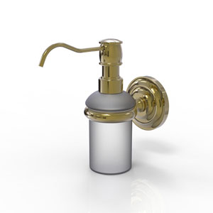 Prestige Que New Unlacquered Brass Three-Inch Wall Mounted Soap Dispenser