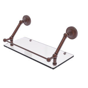 Prestige Regal Antique Copper 18-Inch Floating Glass Shelf with Gallery Rail