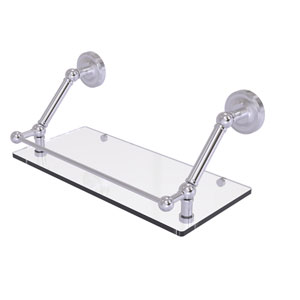 Prestige Regal Satin Chrome 18-Inch Floating Glass Shelf with Gallery Rail