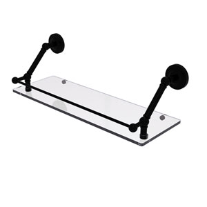 Prestige Regal Matte Black 24-Inch Floating Glass Shelf with Gallery Rail