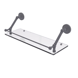 Prestige Regal Matte Gray 24-Inch Floating Glass Shelf with Gallery Rail