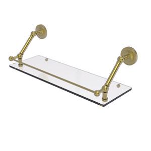 Prestige Regal Satin Brass 24-Inch Floating Glass Shelf with Gallery Rail