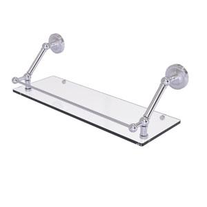Prestige Regal Satin Chrome 24-Inch Floating Glass Shelf with Gallery Rail