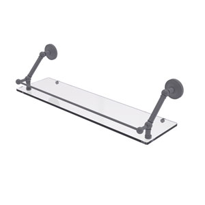 Prestige Regal Matte Gray 30-Inch Floating Glass Shelf with Gallery Rail