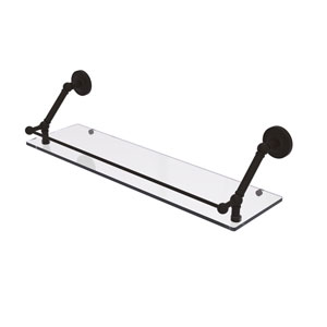 Prestige Regal Oil Rubbed Bronze 30-Inch Floating Glass Shelf with Gallery Rail
