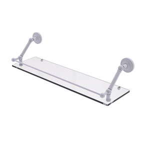 Prestige Regal Matte White 30-Inch Floating Glass Shelf with Gallery Rail