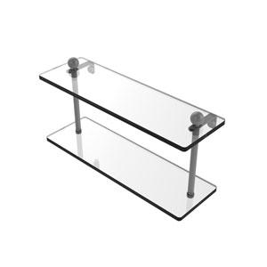 Prestige Regal Matte Gray 16-Inch Two Tiered Glass Shelf