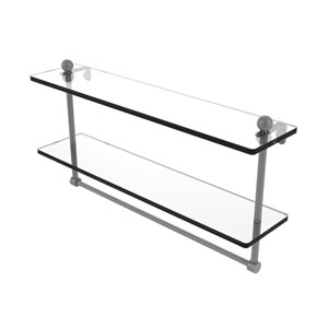 Prestige Regal Matte Gray 22-Inch Two Tiered Glass Shelf with Integrated Towel Bar