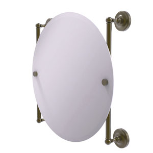 Prestige Regal Antique Brass 22-Inch Round Frameless Rail Mounted Mirror