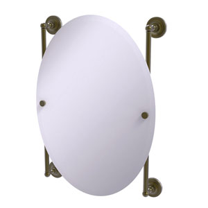 Prestige Regal Antique Brass 21-Inch Oval Frameless Rail Mounted Mirror