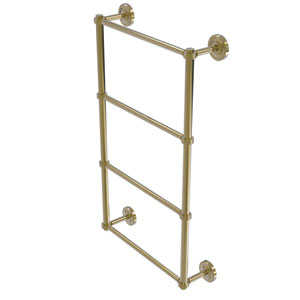 Prestige Regal Unlacquered Brass 36-Inch Four Tier Ladder Towel Bar with Groovy Detail