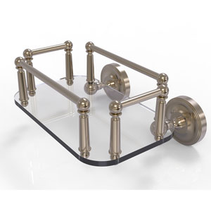 Prestige Regal Antique Pewter Eight-Inch Wall Mounted Glass Guest Towel Tray