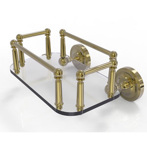 Prestige Regal Unlacquered Brass Eight-Inch Wall Mounted Glass Guest Towel Tray