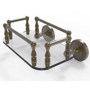 Prestige Regal Antique Brass Eight-Inch Wall Mounted Glass Guest Towel Tray