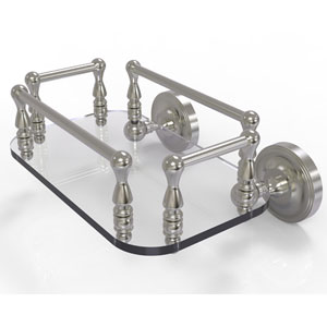 Prestige Regal Satin Nickel Eight-Inch Wall Mounted Glass Guest Towel Tray